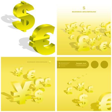 yen: Dollar, euro, yen and pound signs.