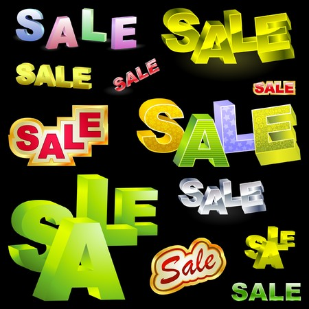 SALE. 3d illustration. Great collection. Vector