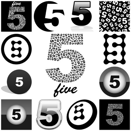 FIVE. Great collection. Stock Vector - 7852550