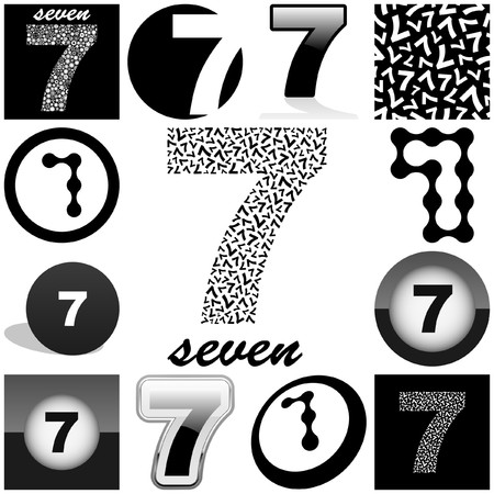 SEVEN. Great collection. Stock Vector - 7852548