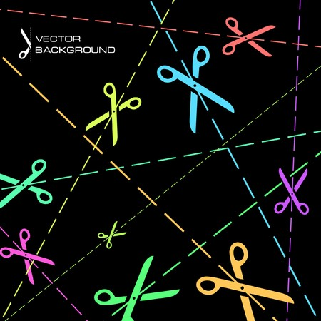 scissors cutting paper: Abstract background with scissors   Illustration