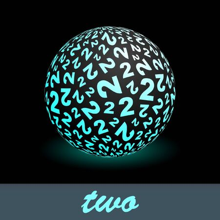 Two. Globe with number mix. Vector