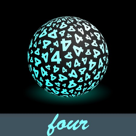 Four. Globe with number mix. Vector