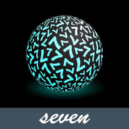 Seven. Globe with number mix. Vector