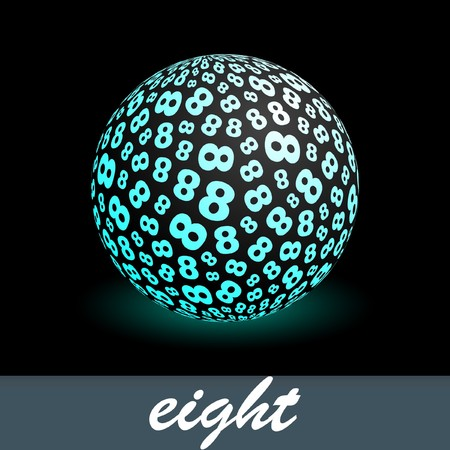 decimal: Eight. Globe with number mix. Illustration