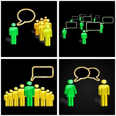 negotiate: Speech business concept.