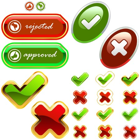 approbate: Approved and rejected icon set