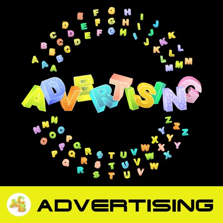 branded product: ADVERTISING. 3d illustration with colored alphabet.