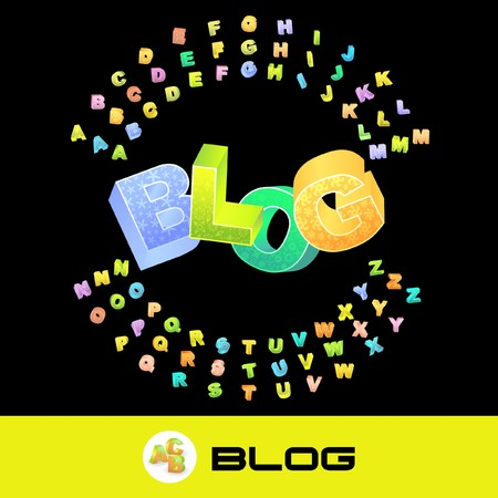 blogosphere: BLOG. 3d illustration with colored alphabet.