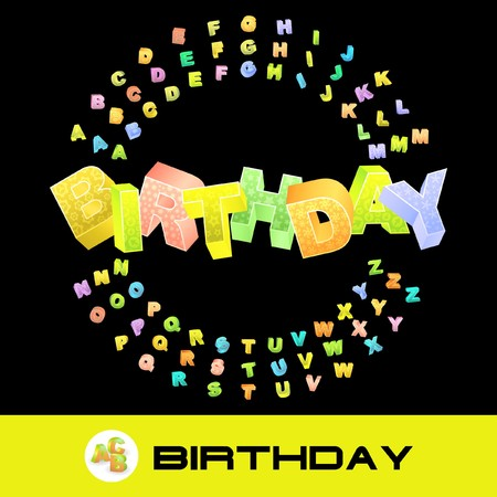 best book: BIRTHDAY. 3d illustration with colored alphabet.