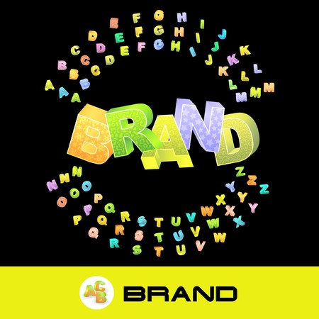BRAND. 3d illustration with colored alphabet. Vector