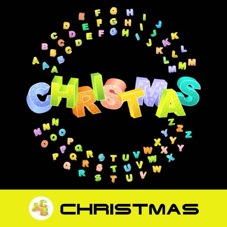 CHRISTMAS. 3d illustration with colored alphabet. illustration