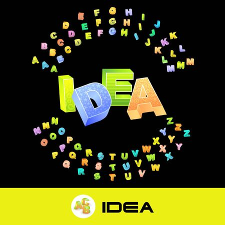 upshot: IDEA. 3d illustration with colored alphabet.