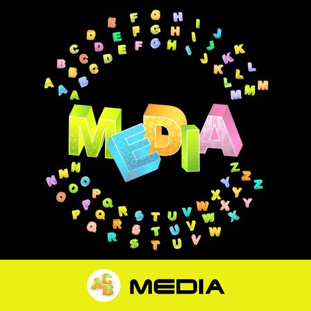 accessing: MEDIA. 3d illustration with colored alphabet. Stock Photo