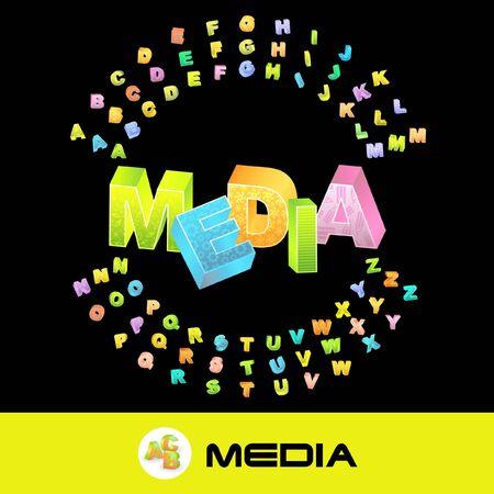 MEDIA. 3d illustration with colored alphabet. illustration