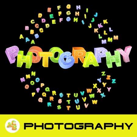 PHOTOGRAPHY. 3d illustration. Colored 3d alphabet. illustration