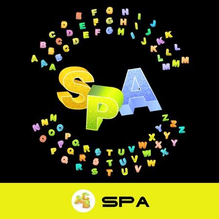 SPA. 3d illustration. Colored 3d alphabet.