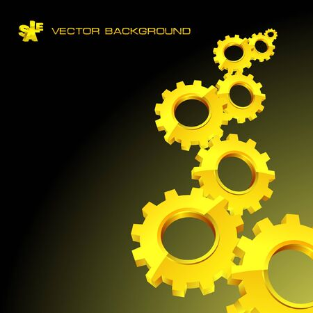 Golden gear background. Abstract illustration.   Stock Illustration - 7880788