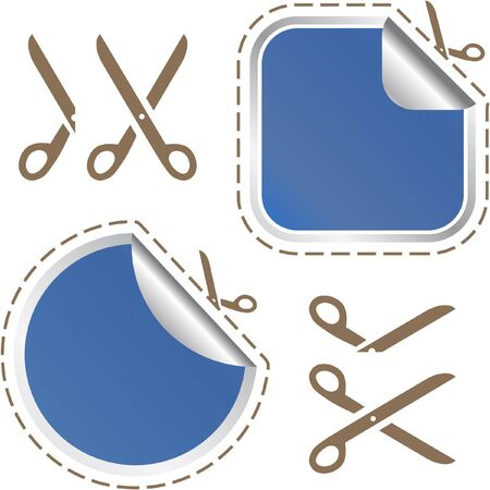 tape line: Scissors with cut lines templates to choose from   Stock Photo