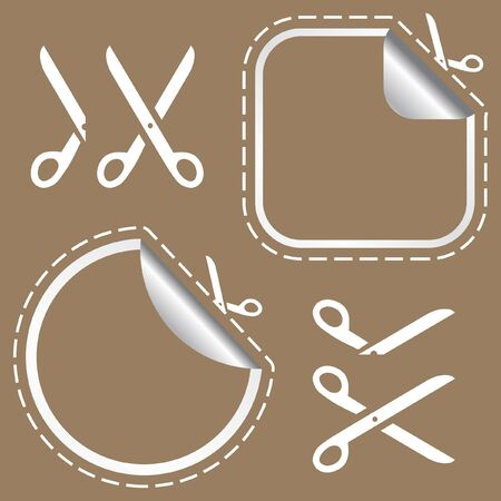 Scissors with cut lines templates to choose from Stock Photo - 7882046