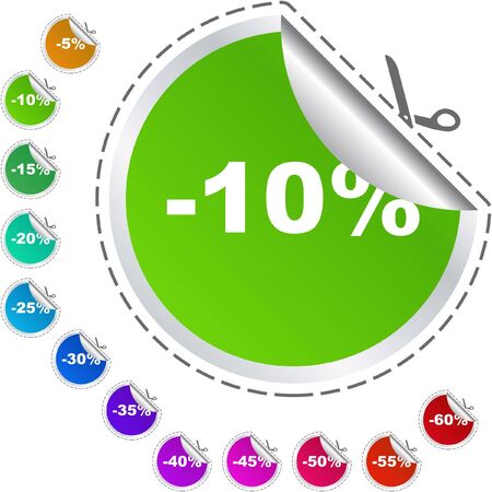Discount label templates with different percentages Stock Photo - 7880841