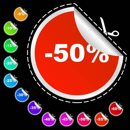 profit celebration: Discount label templates with different percentages