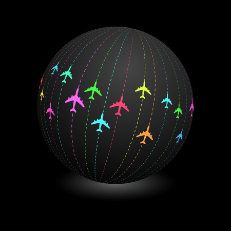 plane landing: Globe with plane signs.