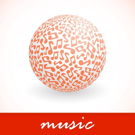 melodist: Globe with note signs. Stock Photo