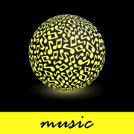 pop musician: Globe with note signs. Stock Photo