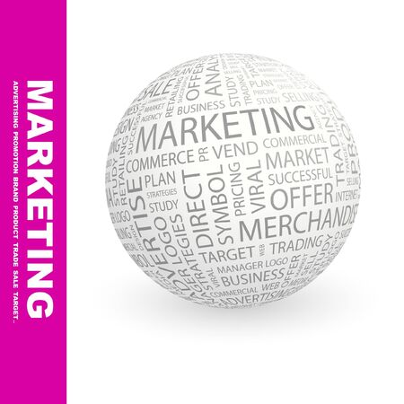 MARKETING. Globe with different association terms. Collage with word cloud. Stock Photo - 7994877