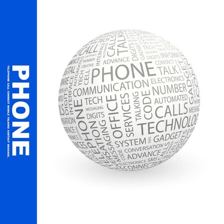 PHONE. Globe with different association terms. Collage with word cloud. photo