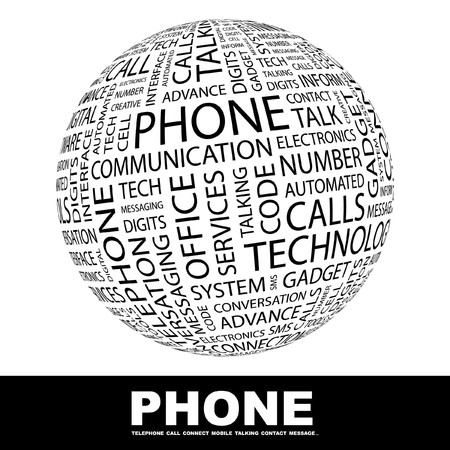 keywords bubble: PHONE. Globe with different association terms.