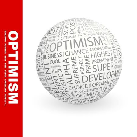 matchless: OPTIMISM. Globe with different association terms.   Stock Photo