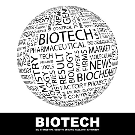 bioscience: BIOTECH. Globe with different association terms. Collage with word cloud.