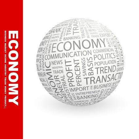 keywords bubble: ECONOMY. Globe with different association terms.