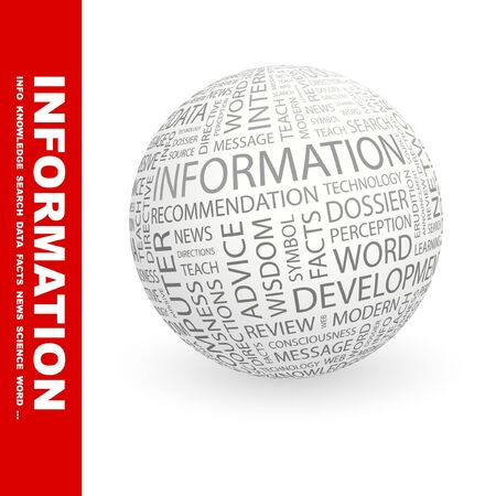 cognizance: INFORMATION. Globe with different association terms. Collage with word cloud. Stock Photo