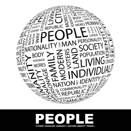 commonality: PEOPLE. Globe with different association terms. Collage with word cloud.