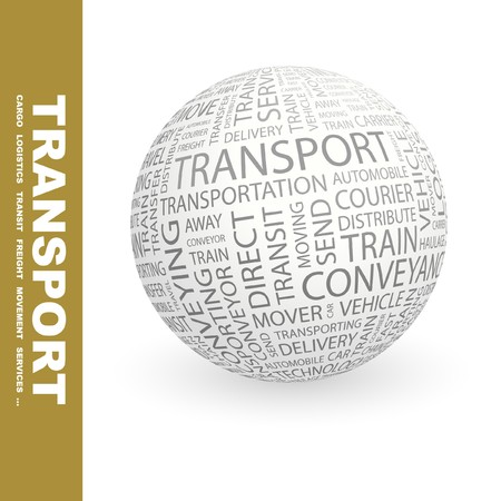 global logistics: TRANSPORT. Globe with different association terms.   Stock Photo