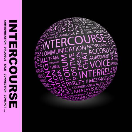 INTERCOURSE. Globe with different association terms. Collage with word cloud. Stock Photo - 7994963