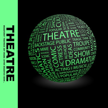 THEATRE. Globe with different association terms.   Stock Photo