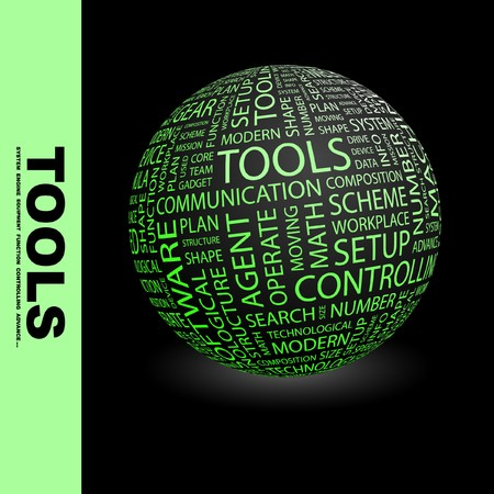 TOOLS. Globe with different association terms. Collage with word cloud. Stock Photo - 7994971