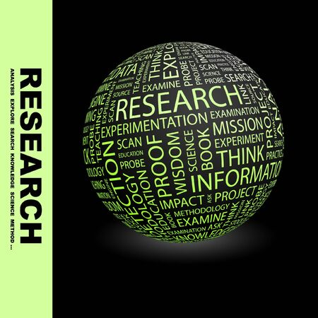 RESEARCH. Globe with different association terms. Stock Photo - 8238985