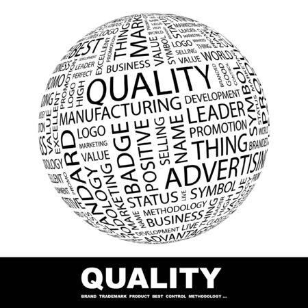 leadership qualities: QUALITY. Globe with different association terms. Collage with word cloud.