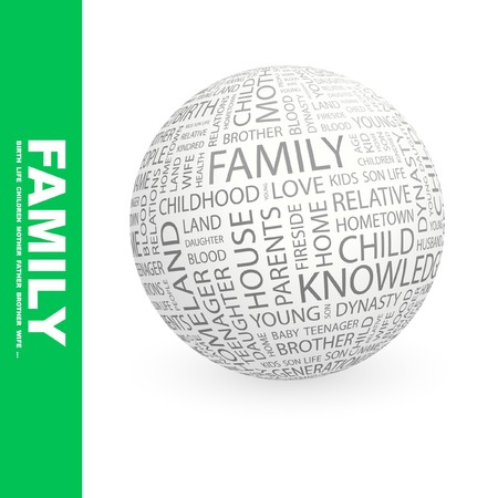 kindred: FAMILY. Globe with different association terms.   Stock Photo