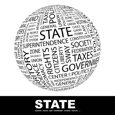 citizenry: STATE. Globe with different association terms. Collage with word cloud.