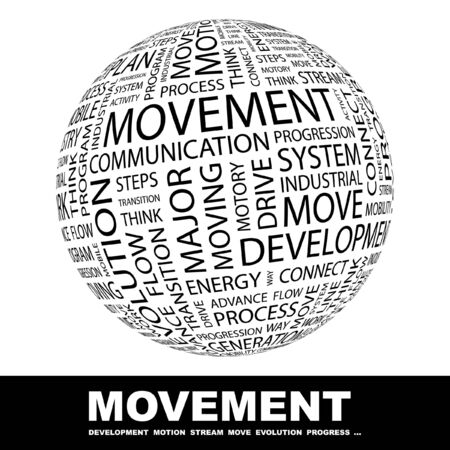 movable: MOVEMENT. Globe with different association terms.