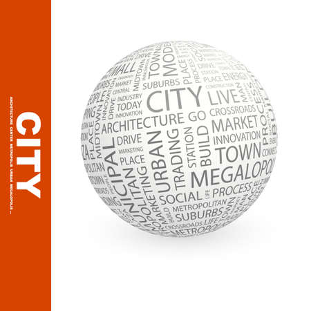 CITY. Globe with different association terms.   photo