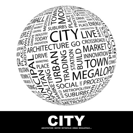 plaza: CITY. Globe with different association terms. Collage with word cloud.