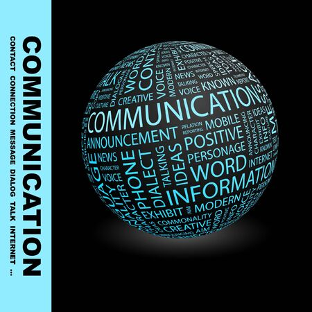 COMMUNICATION. Globe with different association terms. Collage with word cloud. photo