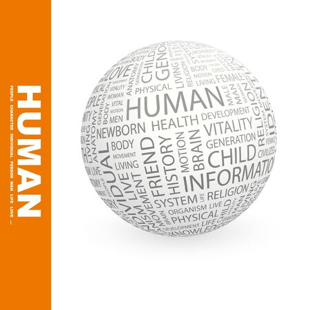 civilized: HUMAN. Globe with different association terms.   Stock Photo